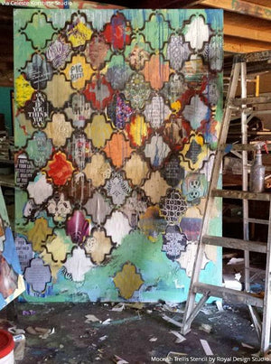 Colorful and Pattern Mixed Media Wall Art - Moorish Trellis Wall Stencils - Royal Design Studio