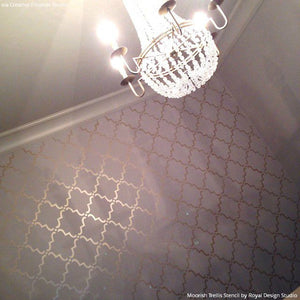 Chic Painted Pattern Accent Wall with Moorish Trellis Wall Stencils - Royal Design Studio