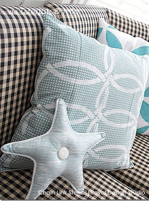 Easy DIY Project - Painted Pillows with Fabric Stencils - Chain Link Stencil