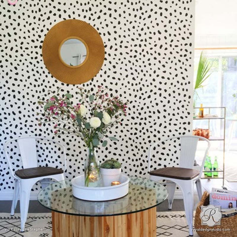 animal print cheetah leapord spots floor stencils on painted patterned floor royal design studio - Interior Design Wall Painting