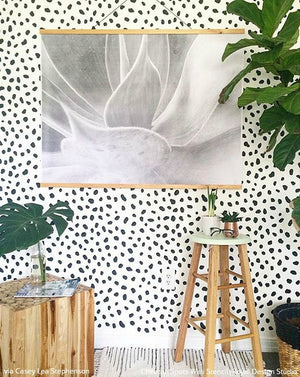 Animal Print Trend in Room Decor - Cheetah Spots Wall Stencils with Green and Gold Accents - Royal Design Studio