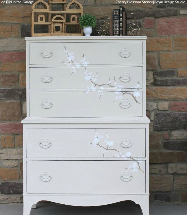 Cherry Blossoms Stencil by Royal Design Studio - Chalk Paint Painted Furniture Projects with Modern Asian Design