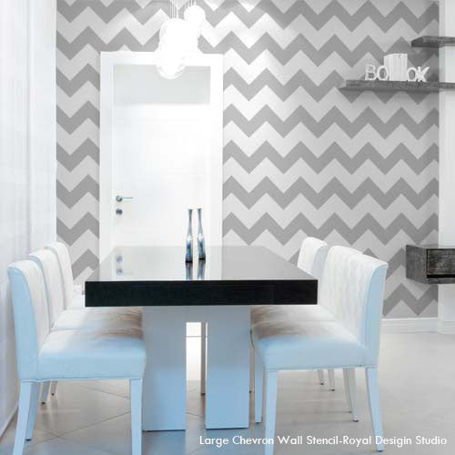 Dining Room Makeover using Modern and Classic Patterns for Painting Walls - Chevron Wall Stencils - Royal Design Studio