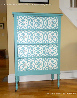 Chez Sheik Craft Stencil by Royal Design Studio Allover Pattern on Dresser Drawers