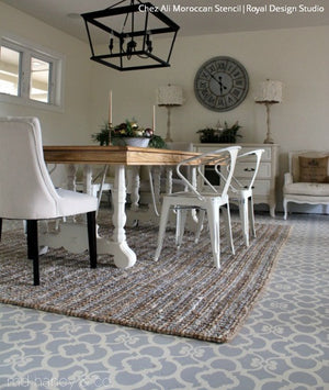 Chez Ali Stencil by Royal Design Studio - Paint a concrete floor with Moroccan Floor Stencils
