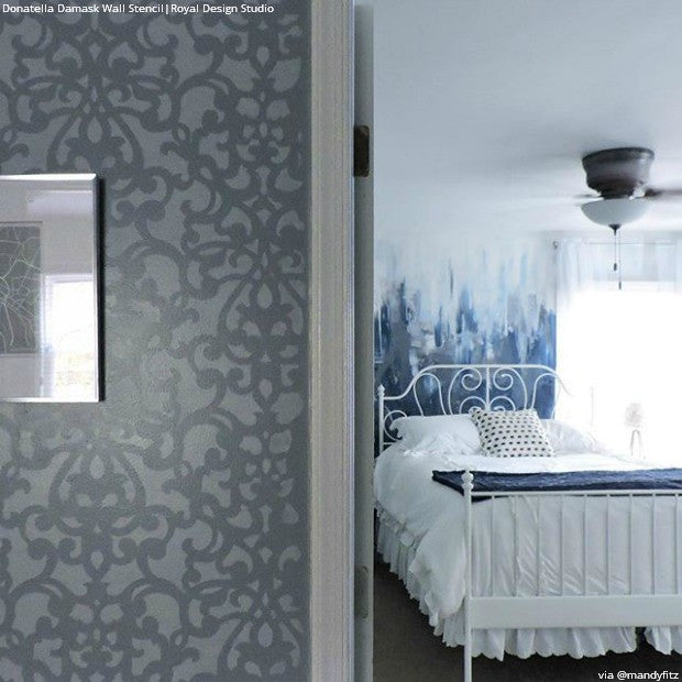 Modern Gray Damask Wallpaper Wall Stencils - Designer Donatella Damask Wall Stencils - Royal Design Studio