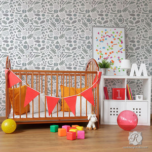 Painting Nursery Decor with Modern Geometric Shapes Wall Stencils - Royal Design Studio
