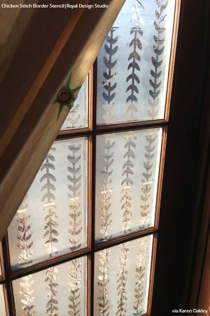 Etched Glass Windows with Border Stencils - Royal Design Studio
