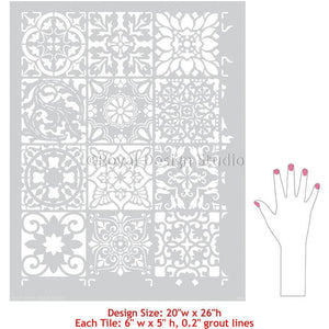 Patchwork Tile Wall Art Pattern Painted with Colorful Tile Stencils - Royal Design Studio