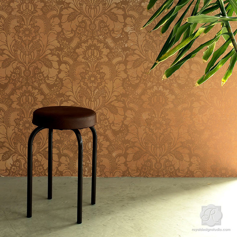Large Italian Wallpaper Patterns with Flower Designs for Accent Wall - Lisabetta Damask Wall Stencils - Royal Design Studio