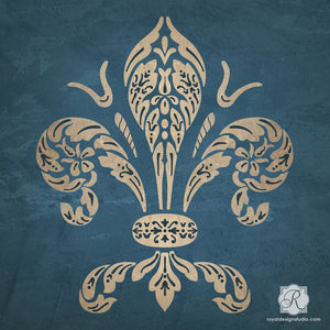 Large Wall Art Stencils - Fleur de Lis European Decor - Royal Design Studio