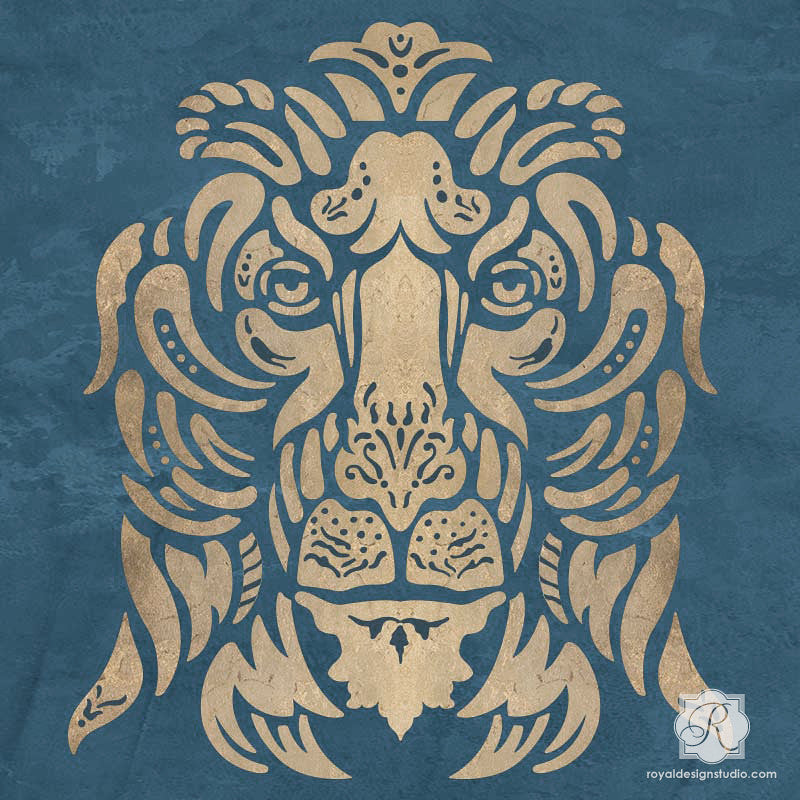 ... Paint Walls With Lion Wall Art Stencils And Italian Design   Royal  Design Studio ...