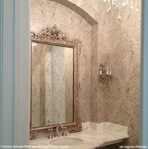 What Kind Of Paint Do I Use In A Bathroom: Acanthus Damask Wall Stencil