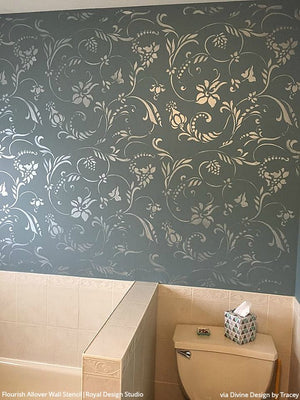 Flourish Allover Wall Stencil