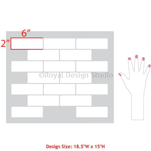 Trendy Subway Tile Design for Stenciling Large Accent Wall - Royal Design Studio