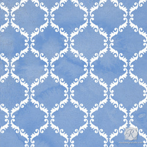 Classic Trellis Damask Pattern for Painting Projects - Craft Stencils - Royal Design Studio