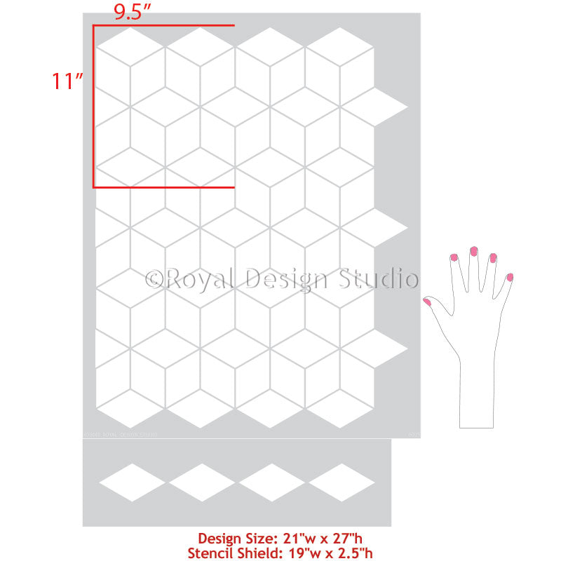 Geometric Tumbling Blocks Pattern Diamond Shapes Dimensional Floor Design - Royal Design Studio Stencils for Painting