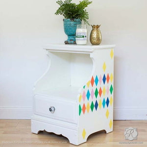 Colorful and Geometric Painted Furniture with Harlequin Furniture Stencils - Royal Design Studio