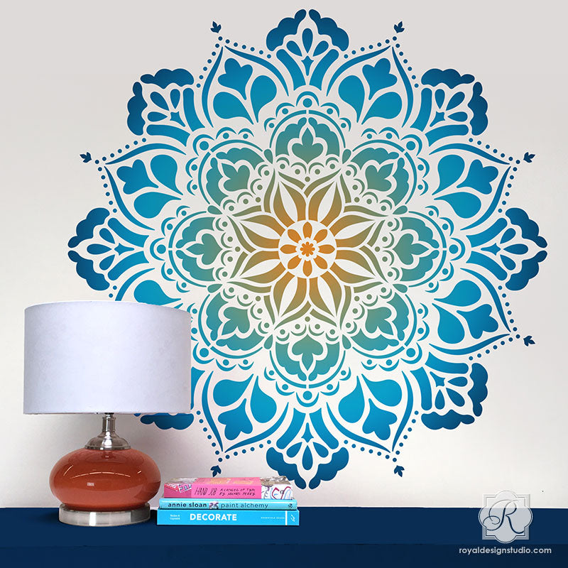 Large Mandala Wall Art Stencils For Painting Boho Bedroom Mural Design