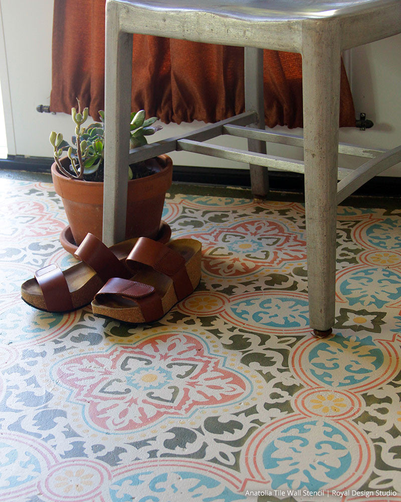 Decorative Concrete Stencils - Boho Chic Floor Stencils - Tile Stencils for Painting - Royal Design Studio