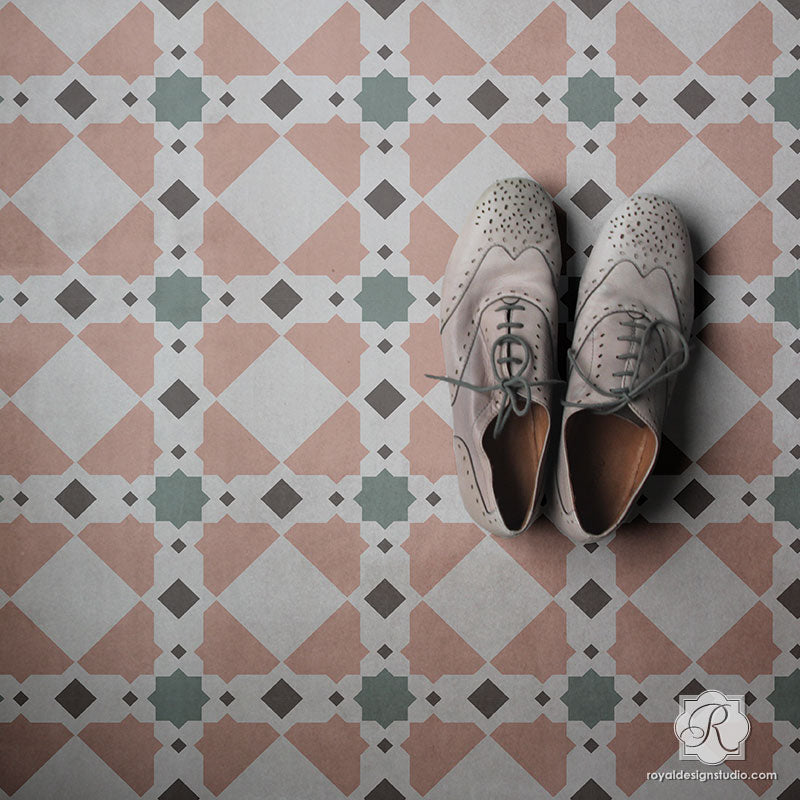 Geometric Tile Patterns Painted on Floor Tiles - Royal Design Studio Stencils