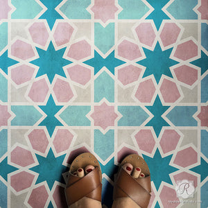 Colorful Floor Tiles Painted with Moroccan Tiles Stencils - Royal Design Studio