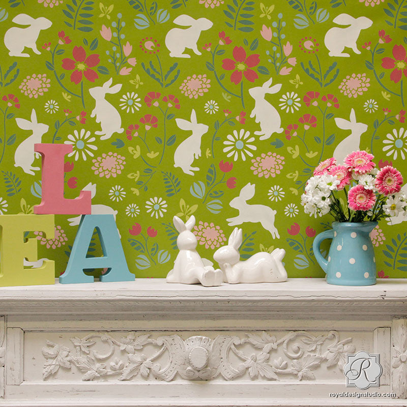 Colorful Folk Bunny Wall Stencils for Trendy Nursery Decor Idea - Royal Design Studio