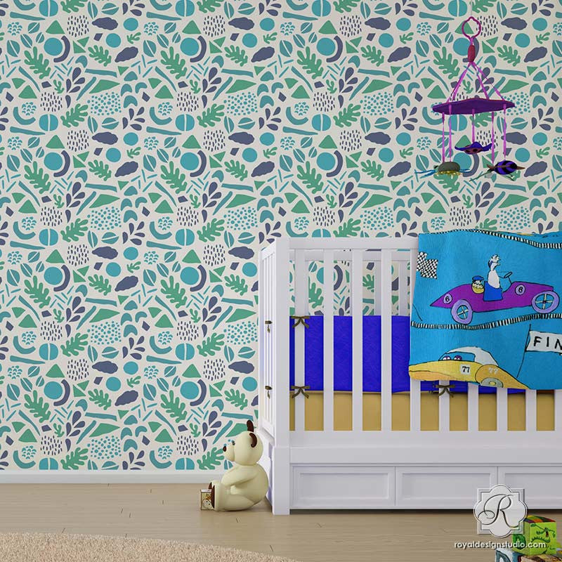 Modern Geometric Shapes Painted Wall Stencils - Royal Design Studio