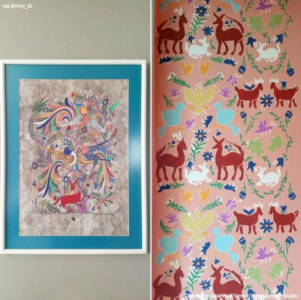 Colorful Painted Wall Art Stencil Otomi Classic Mexican Designs - Royal Design Studio