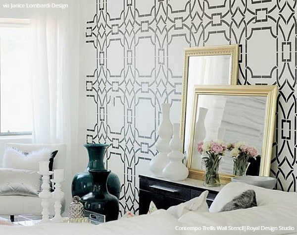 Modern Wall Stencils DIY Floor Stencils For Painting Royal - Bedroom wall stencils design