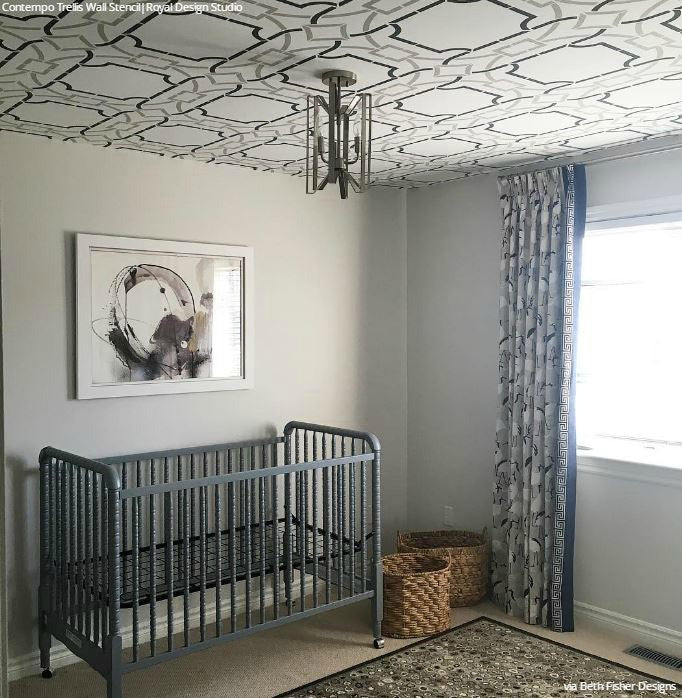 ... Contempo Trellis Wall Stencil; Contemporary Modern Nursery Decor  Painted Ceiling Stencils   Royal Design Studio ...