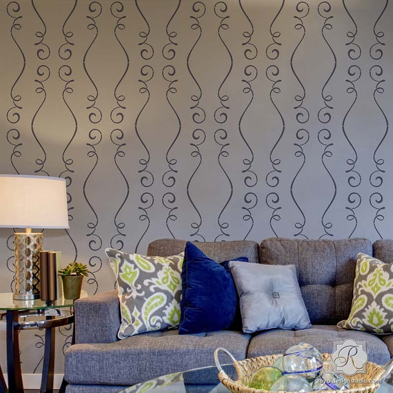 Decorating Living Room Accent Wall with Contemporary French Ribbon Designs - Gigi Scroll Modern Wall Stencils - Royal Design Studio