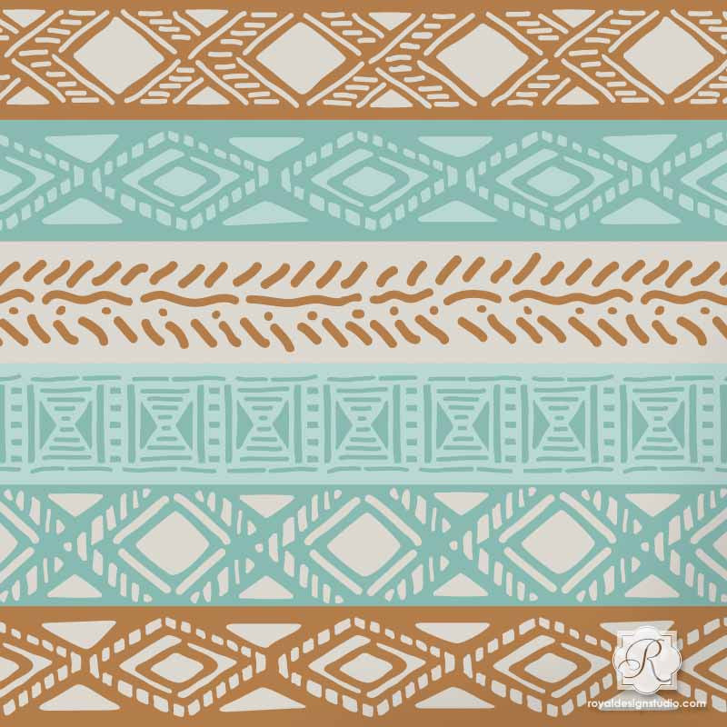 Paint African Design Borders and Patterns on Furniture and more with Tribal Border Craft Stencils - Royal Design Studio