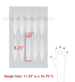 Decorating Furniture with Arrow Print Pattern - African Plumes Tribal Pattern Stencil for Furniture and Craft Projects - Royal Design Studio Stencils