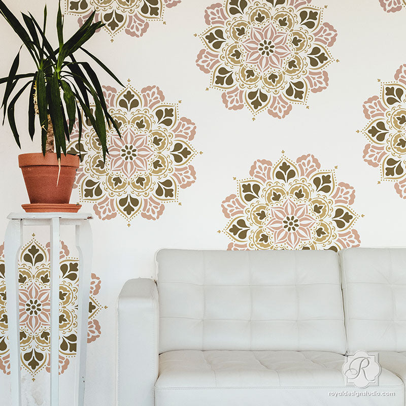 Modern Boho Living Room Wall Art Mandalas for Stenciling and Decorating - Royal Design Studio Stencils-M
