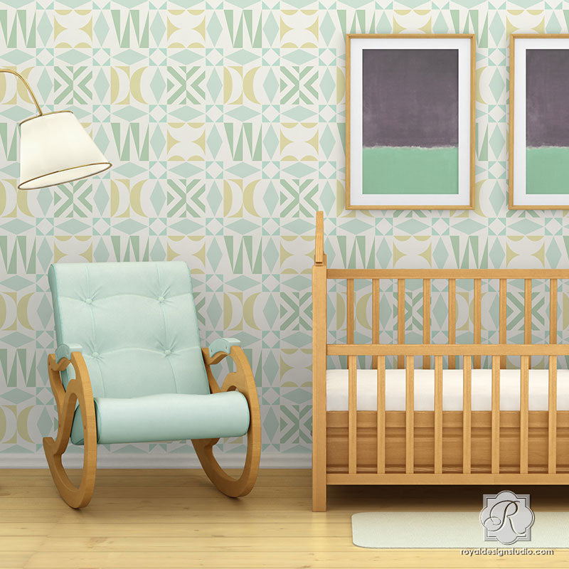 Geometric Nursery Wallpaper Idea with Modern Tribal and Midcentury Modern Wall Stencils - Royal Design Studio