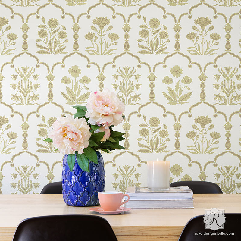 Floral Trellis Wall Pattern - Two Layer Wall Stencils for Painting - Royal Design Studio