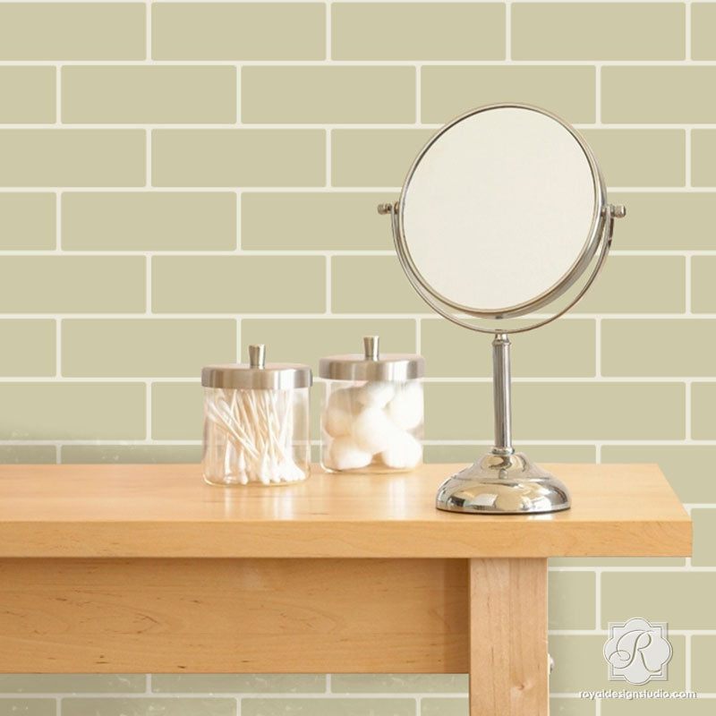 Wall Mural Stencils | Faux Subway Tile Wall Stencil | Painting ...