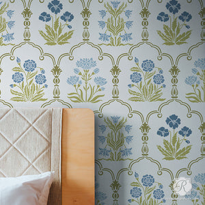 Bohemian Flower Wall Pattern Trellis Wall Stencils for Painting - Royal Design Studio