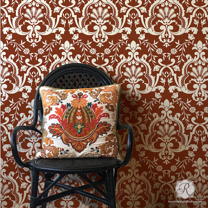 Custom Wallpaper Designs Painting Bohemian Turkish Wall Stencils - Royal Design Studio