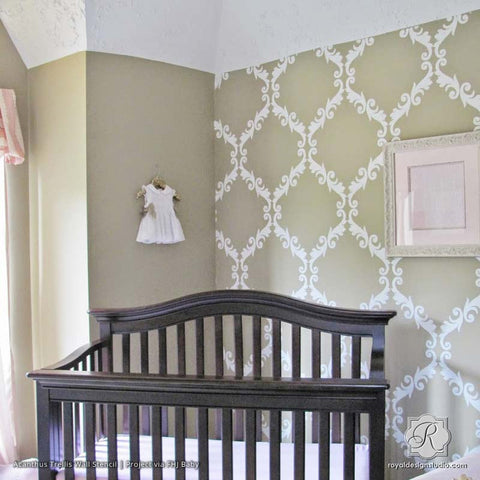 Acanthus Trellis Wall Stencils   Wall Painting Stencils With Damask  Wallpaper Pattern   Royal Design Studio