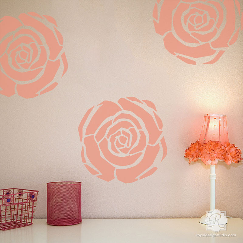 Nursery Decor and Wall Art - Art Deco Rose Stencils