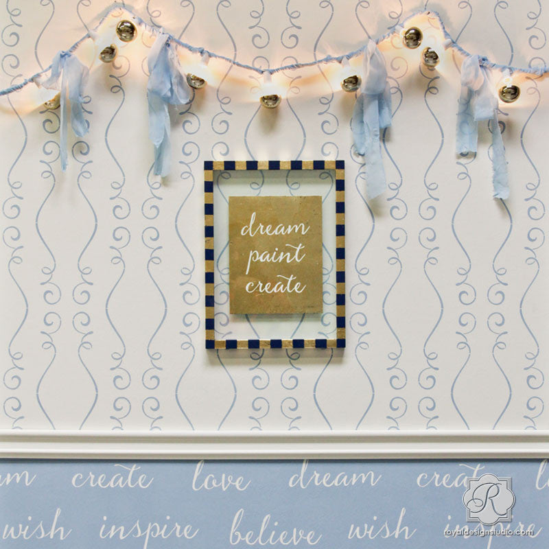 Cute Baby Nursery Decor Idea with DIY Wallpaper Pattern Stencils - Gigi Scroll Modern Wall Stencils - Royal Design Studio