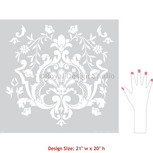 Handpainted Wallpaper Damask Wall Stencils Moroccan Style - Royal Design Studio