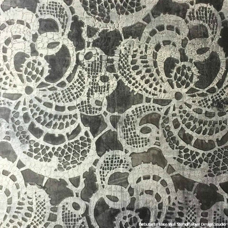 Vintage Victorian Wallpaper Lace Wall Stencils for Painting - Royal Design Studio