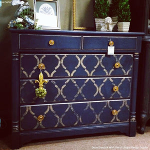 Large Art Deco Pattern Painted on Furniture Stencils - Royal Design Studio