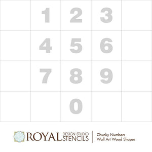 Decorative Wall Art Numbers for Hanging, Painting, Stenciling - Royal Design Studio