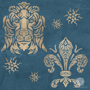 Lions, Fleur de Lis, and Stars European Shields Wall Art Stencils - Royal Design Studio