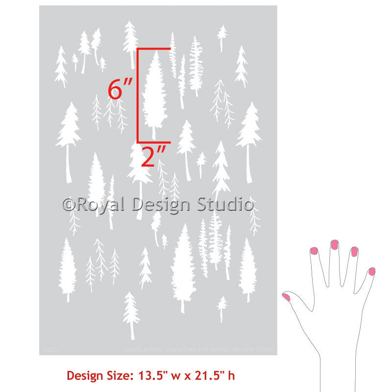 Paint a Forest Themed Boys Room with Trendy Furniture Stencils - Tree Stencils from Royal Design Studio