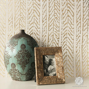 Metallic Gold Leaf and Textured Walls - Royal Design Studio - Funky Fibers Wall Stencil